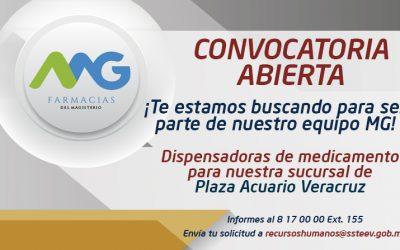 CONVOCATORIA ABIERTA  Vacante para dispensadoras de medicamento en Plaza Acuario Veracruz