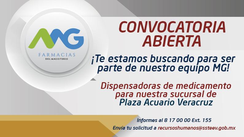 CONVOCATORIA ABIERTA |Vacante para dispensadoras de medicamento en Plaza Acuario Veracruz